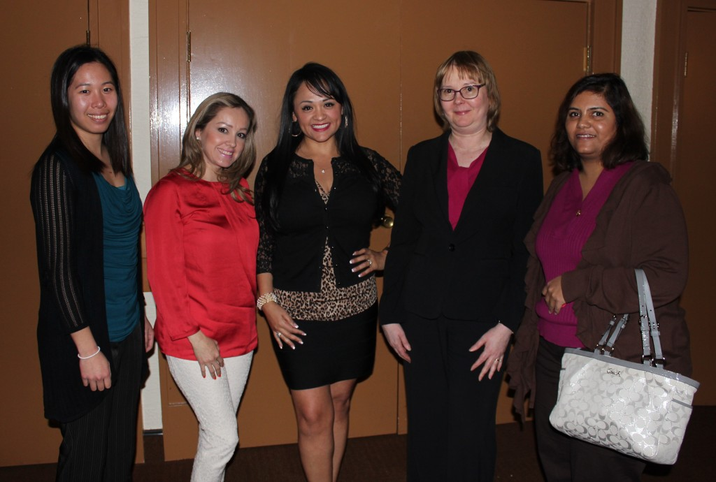 First time attendees with our Dallas SWE President!  From left to right: Rebecca Tom, Brenda Rodriguez de Perez, Shelly Gill, Dallas SWE President Barbara Read, Shilpa Nagaraj