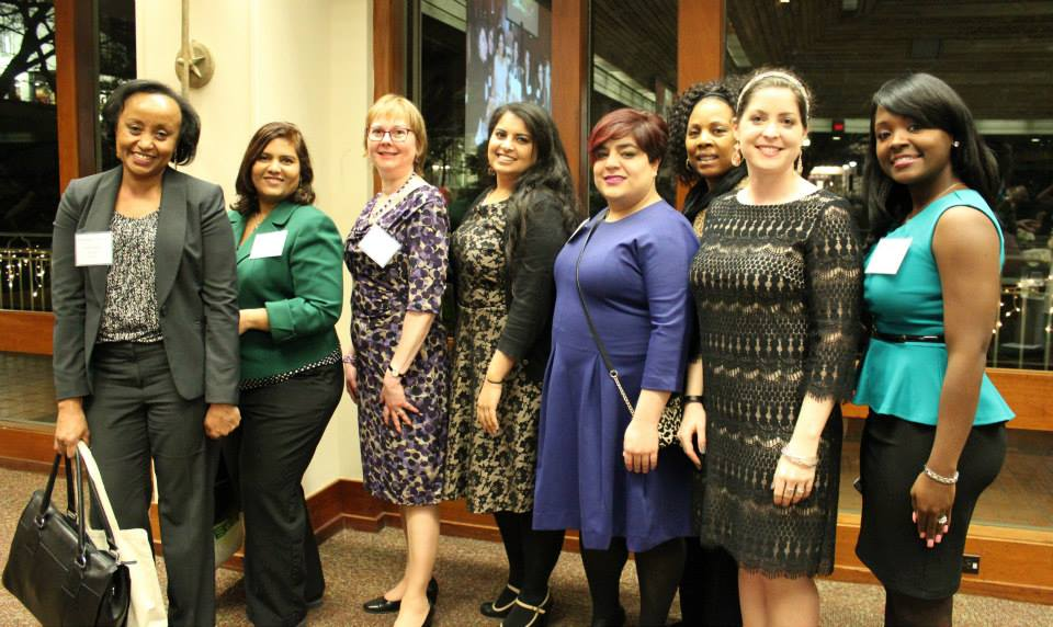 From left to right: Kashmira Engineer, Shilpa Nagaraj, Barbara Read, Zaineb Ahmad, Amanda Posadas, Cherrie Fisher, Shelley Stracener, Anique Cooley
