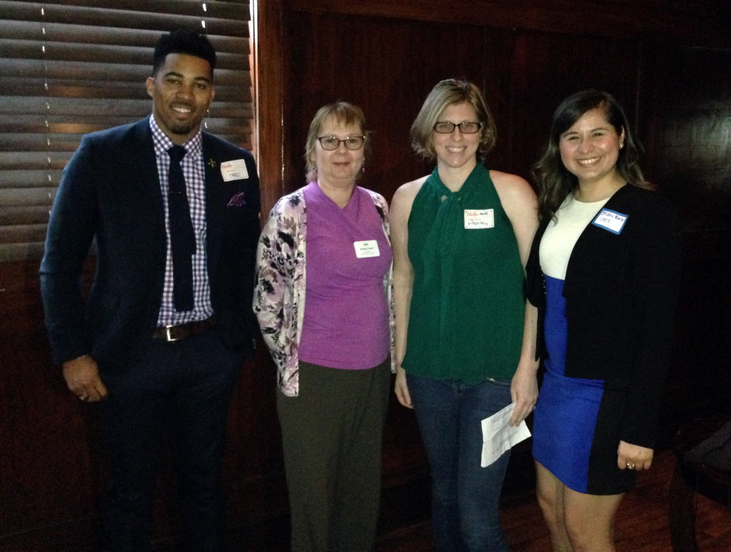 From left to right, Chris Lewis (NSBE), moderator Barbara Read (Dallas SWE), Ashley Dunn (Dallas SWE), and Brianne Martin (SHPE DFW)