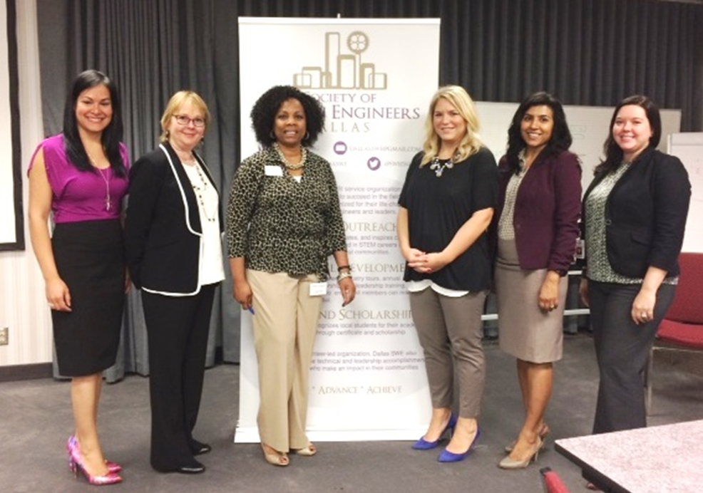 From left to right: Rosa Leal (Commercial Product Specialist & Leader of Let's Connect); Barbara Read (Dallas SWE President); Cherrie Fisher (Dallas SWE Vice President); Kasia Moore (Law Director & LWBC President), Sweta Hari (Director Product Management, Residential Heating); Laura Gram (Manager Commercial Distribution & Managing Director LYPA)