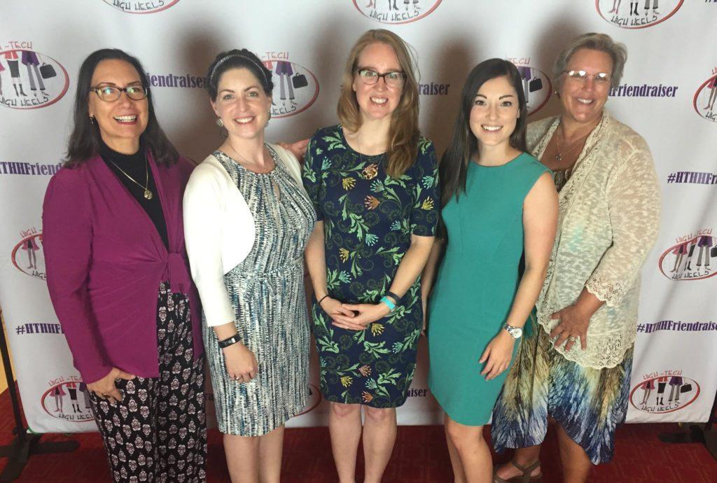 Left to right: Stephanie Watts Butler (FY16 SWE Achievement Award recipient), Shelley Stracener (Dallas SWE FY17 President), Jennifer Vilbig (Dallas SWE FY13-14 President), Amber Scheurer (Dallas SWE FY17 Secretary), and Lynn Mortensen (Dallas SWE Scholarship Committee Chair).